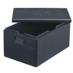 ECO termobox GN 1/1 vyrobený z expandovaného polypropylenu (nikoliv polystyrenu), odolného proti poškození, s dlouhou životností.