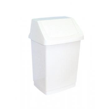 Odpadkový Koš s víkem hranatý plastový bílý 15 l