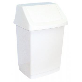 Odpadkový Koš s víkem hranatý plastový bílý 50 l