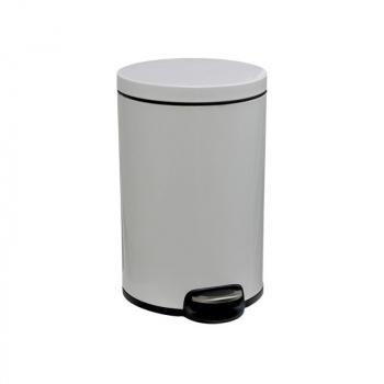 Odpadkový Koš s pedálem SILENT, kovový, bílý, 12 l
