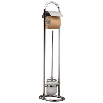 Stojan s držákem na toaletní papír s WC štětkou s krytkou