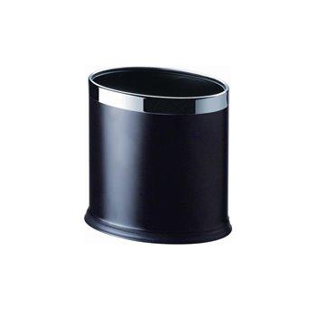 Koš pokojový, dvouplášťový, oválný, černá koženka, nerez rámeček