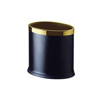 Koš pokojový, dvouplášťový, oválný, černá koženka, zlatý rámeček