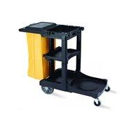 Vozík pro pokojské, plast, s víkem a vakem, 124x55x100 cm