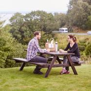Zahradní stůl s lavicemi, 1660x1700 mm, borovice, hnědý lak