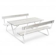 Extra dlouhý piknikový stůl, 1800x1800 mm, lavice s opěradlem, šedý
