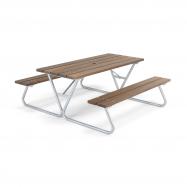 Extra dlouhý piknikový stůl, 1800x1800 mm, lavice bez opěradla, hnědý