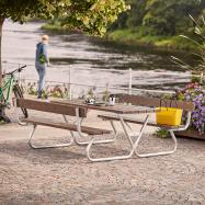 Extra dlouhý piknikový stůl, 1800x1800 mm, lavice s opěradlem, hnědý