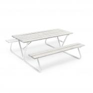 Extra dlouhý piknikový stůl, 1800x1800 mm, lavice bez opěradla, šedý