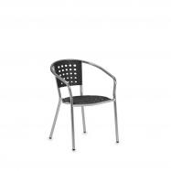 Zahradní židle s područkami, černá, hliník