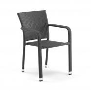Ratanová zahradní židle, s područkami, černá