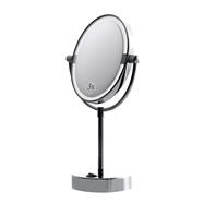 Kosmetické zrcátko O180 mm oboustranné s LED osvětlením na postavení (bílé světlo)