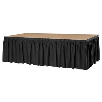 Zvlněná rautová sukně pro mobilní pódium, 410 x 80 cm, černá
