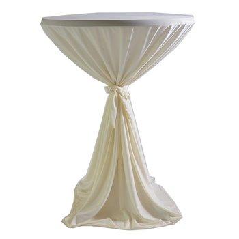 Venice - ubrus na koktejlový stůl ∅ 80 - 85 cm se stuhou, Krémová