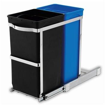 Vestavný odpadkový koš na tříděný odpad Simplehuman – 20/15 l, výsuvný, lesklá ocel /plast