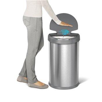 Bezdotykový odpadkový koš Simplehuman - 45 l, půlkulatý, matná ocel FPP, plastové víko