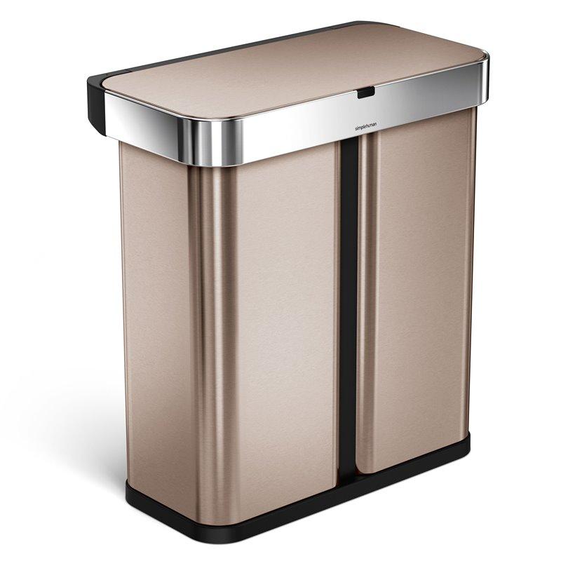 Simplehuman bezdotykový koš s hlasovým ovládáním, tříděný odpad, 58L, Rose Gold, ST2037