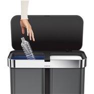 Simplehuman bezdotykový koš s hlasovým ovládáním, tříděný odpad, 58L, černá ocel, ST2040
