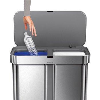 Simplehuman bezdotykový koš s hlasovým ovládáním, tříděný odpad, 58L, nerez ocel, ST2036