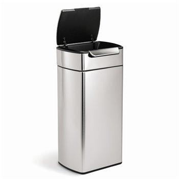 Dotykový odpadkový koš Simplehuman – 30 l, hranatý, matná nerez ocel, FPP
