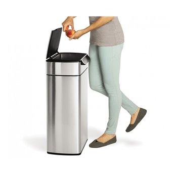 Dotykový odpadkový koš Simplehuman – 40 l, hranatý, matná nerez ocel, FPP