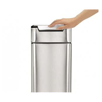 Dotykový odpadkový koš Simplehuman – 40 l, úzký, matná nerez ocel, FPP