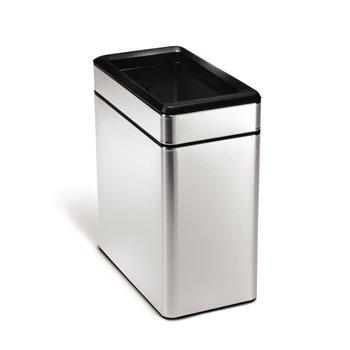 Odpadkový koš Simplehuman – 10 l, hranatý, otevřený, matná ocel