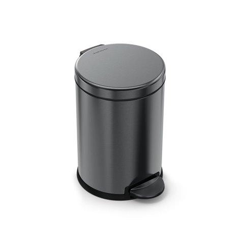 Pedálový odpadkový koš Simplehuman – 4,5 l, kulatý, černá nerez ocel
