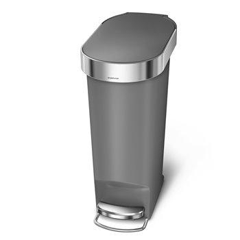 Simplehuman pedálový odpadkový koš, 40 l, šedý plast, úzký, oválný, s nerez krytem sáčku