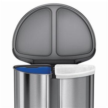 Pedálový odpadkový koš Simplehuman na třídený odpad – 55 l, půlkulatý, kartáčovaná nerez