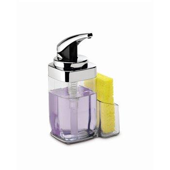 Dávkovač mýdla Simplehuman – 650 ml, hranatý, chrom + držák na houbičku