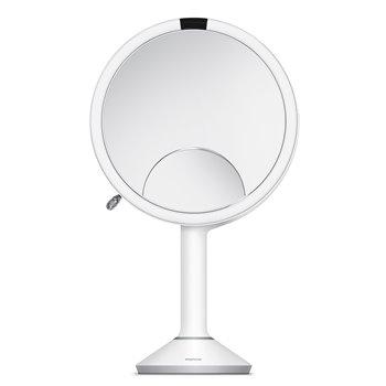 Kosmetické zrcátko Simplehuman Sensor TRIO, LED osvětlení, 1x/5x/10, dobíjecí, bílá nerez
