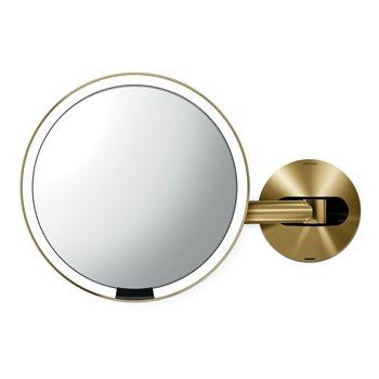 Kosmetické zrcátko na zeď, Simplehuman Sensor, LED osvětlení, 5x, dobíjecí, Brass steel