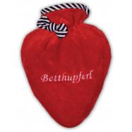 Termofor Hugo Frosch ve tvaru srdce s červeným obalem – 3 typy výšivky