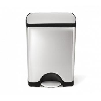 Pedálový odpadkový koš Simplehuman – 30 l, obdélníkový, matná ocel, FPP