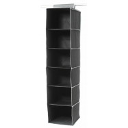 Závěsný organizér na oblečení Compactor URBAN 30 x 30 x 128 cm – 6 polic, černý