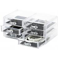 Organizér na šperky Compactor – 6 zásuvek, čirý plast