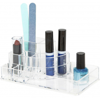 Organizer na kosmetiku a Make-up Compactor - 8 přihrádek, čirý plast