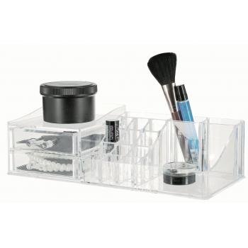 Organizer na kosmetiku Compactor Multi - 16 přihrádek, 2 zásuvky, čirý plast