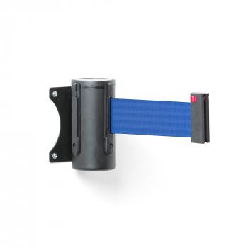 Zahrazovací pás, 2300 mm, nástěnná kazeta, černá, modrý pás