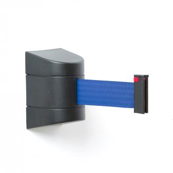 Zahrazovací pás, 4600 mm, nástěnná kazeta, černá, modrý pás