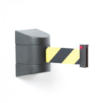 Zahrazovací pás, 4600 mm, nástěnná kazeta, černá, žlutočerný pás