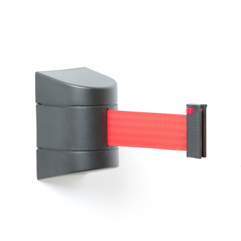 Zahrazovací pás, 9000 mm, nástěnná kazeta, černá, červený pás