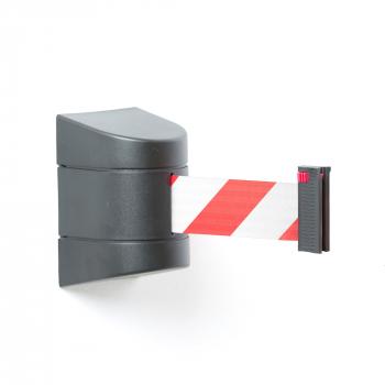Zahrazovací pás, 9000 mm, nástěnná kazeta, černá, červenobílý pás