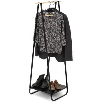 Compactor Nora Black kovový stojan na šaty s kovovou policí na boty, 52 x 47 x 140 cm