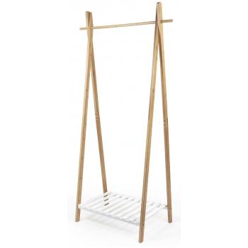 Bambusový stojan na šaty Compactor Bamboo Stender s bílou policí na boty, 80 x 44 x 160 cm