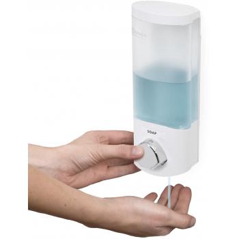 Compactor UNO dávkovač mýdla / šampónu na zeď, bílý plast, 360 ml