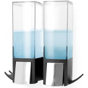 Compactor Edge nástěnný dávkovač mýdla / šampónu / desinfekce, chrom / ABS plast - černý