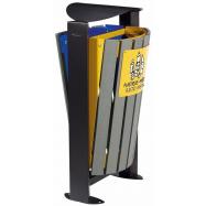 Venkovní koš na tříděný odpad - papír, plasty Rossignol Arkea 59287, 2x60 L, modrý, žlutý