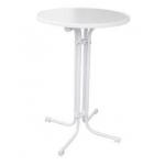 Bílá MDF deska o průměru 80 cm. Výška stolu 110 cm. Stůl lzesložit a snadno uskladnit.